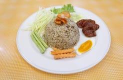 Gebraden rijst met kruidige saus Royalty-vrije Stock Afbeelding