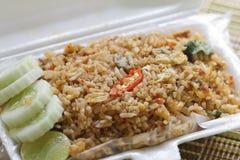 Gebraden rijst met schaaldieren Stock Foto
