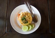 Gebraden rijst met varkensvlees Royalty-vrije Stock Foto's