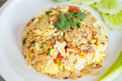 Gebraden rijst met varkensvlees en ei Royalty-vrije Stock Foto