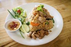 Gebraden rijst met zeevruchten Stock Foto