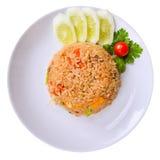 Gebraden rijst, Thaise Voedselisolatie met het knippen van weg Stock Afbeeldingen