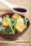 Gebraden tofu met rijst en groenten Stock Foto