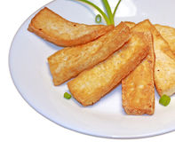 Gebraden tofu plakken Stock Foto's