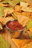 Gebraden tortillaspaanders en salsa Stock Afbeelding