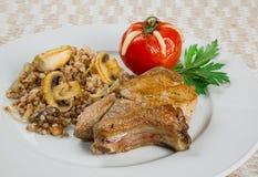 Gebraden varkenskoteletten, lapje vlees Stock Fotografie
