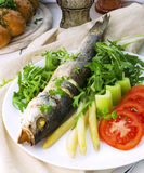 Gebraden Vissen (de Zeebaars) Met Asperge, selderiesteel, arugula en tomaat Stock Foto