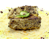 Gebraden vissen met zuivere aardappel Royalty-vrije Stock Foto