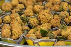 Gebraden vissenpasteitje, Fried Fish-Paste Ball stock foto