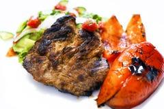 Gebraden vlees op de grill Gebraden vlees op steenkolen Royalty-vrije Stock Afbeeldingen