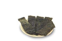 Gebraden zeewier op plaat Stock Foto