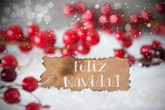 Gebrand Etiket, Sneeuw, Sneeuwvlokken, Feliz Navidad Means Merry Christmas Royalty-vrije Stock Fotografie