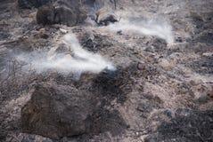 Gebrand gebied met witte rook Stock Afbeelding