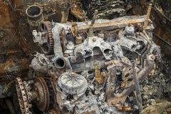 Gebrand onderaan roestige motor Royalty-vrije Stock Fotografie