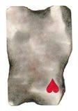 Gebrand oud speelkaartdocument met één achtergrond van het hartsymbool Stock Fotografie
