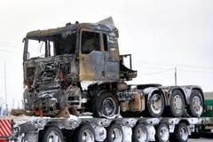 Gebrande vrachtwagen stock afbeelding