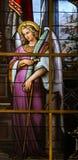Gebrandschilderd glas - Allegorie op het Lijden van Jesus Stock Foto