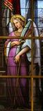 Gebrandschilderd glas - Allegorie op het Lijden van Jesus Stock Foto's