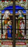 Gebrandschilderd glas - Ana en Heilige Elisabeth van Heilige stock fotografie