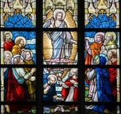 Gebrandschilderd glas - Beklimming van Jesus royalty-vrije stock foto