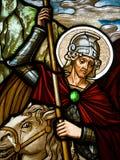 Gebrandschilderd glas bij klooster Royalty-vrije Stock Foto's
