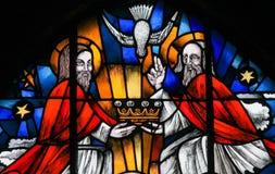 Gebrandschilderd glas - de Heilige Drievuldigheid royalty-vrije stock fotografie