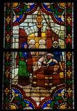 Gebrandschilderd glas in de Kathedraal van Leon, Spanje Stock Foto's