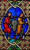 Gebrandschilderd glas in de Kathedraal van Monaco - Bloed van Christus royalty-vrije stock afbeeldingen