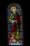 Gebrandschilderd glas in de Kathedraal van Monaco - het Teken van Heilige de Evangelist stock fotografie