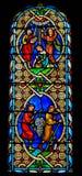 Gebrandschilderd glas in de Kathedraal van Monaco - Lichaam en Bloed van Christus royalty-vrije stock foto