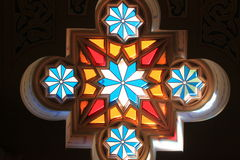 Gebrandschilderd glas in de synagoge Royalty-vrije Stock Foto