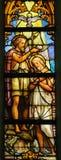 Gebrandschilderd glas - Doopsel van Christus stock afbeeldingen