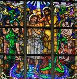 Gebrandschilderd glas - Doopsel van Jesus door Heilige John Doopsgezind vector illustratie