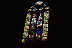 Gebrandschilderd glas in een kathedraal in Barcelona Royalty-vrije Stock Foto