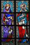 Gebrandschilderd glas - Heilige bloeit en Ludmilla Stock Foto