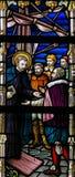 Gebrandschilderd glas - Heilige Francis Xavier stock foto
