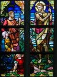 Gebrandschilderd glas - Heilige John Doopsgezind Stock Fotografie