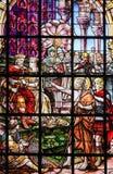 Gebrandschilderd glas - Heilige John Doopsgezind Stock Afbeeldingen