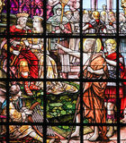 Gebrandschilderd glas - Heilige John Doopsgezind Stock Afbeelding