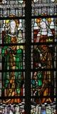 Gebrandschilderd glas - Heiligen Barbara en Elisabeth stock foto's