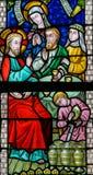 Gebrandschilderd glas - Huwelijk in Cana royalty-vrije stock foto