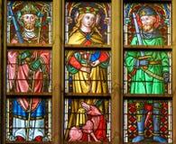 Gebrandschilderd glas - Katholieke Heiligen stock fotografie
