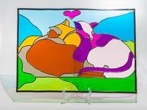 Gebrandschilderd glas - katten royalty-vrije illustratie