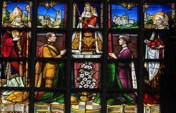Gebrandschilderd glas - Koning Albert I en Koningin Elisabeth van België stock foto