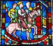 Gebrandschilderd glas, Koning op horseback Royalty-vrije Stock Foto