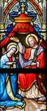 Gebrandschilderd glas - Kroning van Virgin Stock Foto