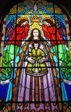 Gebrandschilderd glas met godsdienstige motieven royalty-vrije stock afbeelding