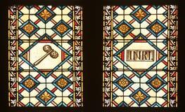 Gebrandschilderd glas met scènes de Hartstocht van Jesus in de kathedraal van Zagreb stock afbeelding