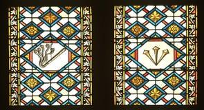 Gebrandschilderd glas met scènes de Hartstocht van Jesus in de kathedraal van Zagreb stock foto's