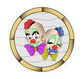 Gebrandschilderd glas of mozaïekpatroon Twee clownmasker op een lichte achtergrond vector illustratie